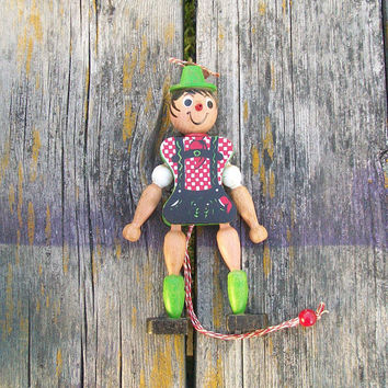 Vintage Wood Pull String Jumping Jack by M Gschnitzer Austria Ornament Lederhosen Pinocchio