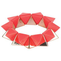 Neon And Gold Pyramid Bracelet - Pink