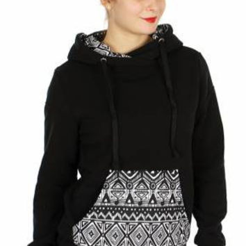 Pull Over Hoodie w/ Tribal Prints BK In Size S-XL