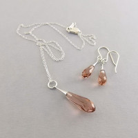 Necklace Set Blush Rose Crystal Pure Drop Trumpet and Sterling Silver