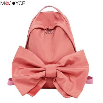 School Backpack trendy Sweet Bowknot Simple Backpack Watermelon Red School Bags Teenager Girls Solid Students Cute Candy Color Rucksacks Gift AT_54_4