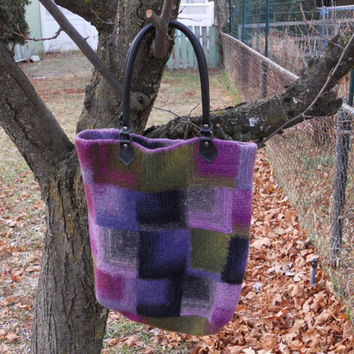 Felted Mitered Square Knitted Purse Tote Laptop Bag by AnnieKints