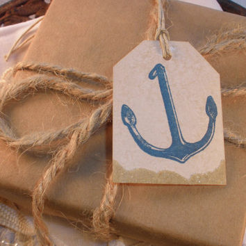 Blue Anchor Tags with Real Sand Accent Set of 6
