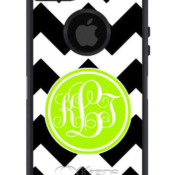 OTTERBOX DEFENDER iPhone 5 4/4s Case Custom Black CHEVRON stripes lime green initial circle - Monogram Personalized