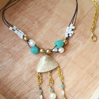 Boho Beaded Necklace - Jade Green and Gold Necklace - Spring 2016
