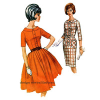 1960s McCalls 6397 ROCKABILLY DRESS PATTERN Shirtwaist Bodice Full Fitted Skirt Bust 31.5 UNCuT Junior Petite Womens Sewing Patterns