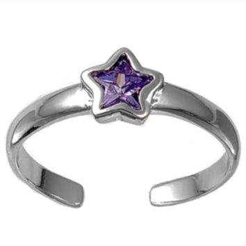 .925 Sterling Silver Amethyst Star Adjustable Ring for Ladies and Kids Purple Midi or Toe