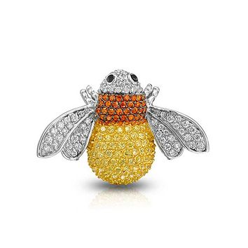 Yellow Orange Bumble Bee Pin Brooch Silver Plated Pave CZ Silver Plate