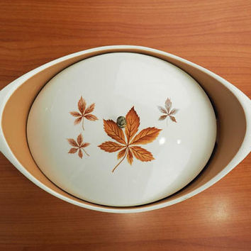 Vintage TS&T Ever Yours Random Leaves Covered Vegetable Dish, Mid Century Casserole Serving Ware