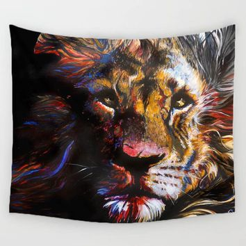 Comwarm 3D Lion Oil Painting Pattern Tapestry Lonely King Colorful Art Wall Hanging Gobelin Mural Yoga Rug Bedroom Decor Crafts