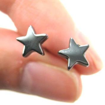 Universe Night Sky: Star Shaped Stud Earrings in Gunmetal Silver