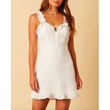 cotton candy la - quintana ruffle strap mini dress - white
