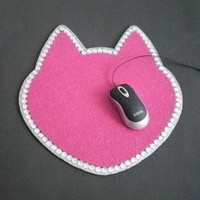 PINK CAT & BLING Mousepad - Sparkling pink eco felt w/ clear rhinestones