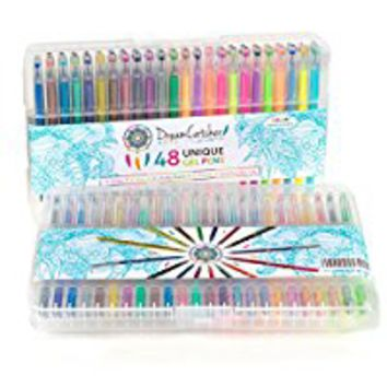 DreamCatcher Arts Gel Pens Set Includes 48 Unique, Ultra Fine Tip Coloring Markers. Great for Adult Coloring Books, Bullet Journaling, and Scrapbooking