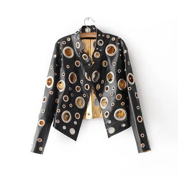 High Quality Gold Silver Hollow Out Female Jacket 2017 Fashion Women Leather Jacket Rivet Motorcycle Jackets Coats Short Black