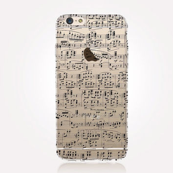 Transparent Music Sheet iPhone Case - Transparent Case - Clear Case - Transparent iPhone 6 - Transparent iPhone 5 - Transparent iPhone 4
