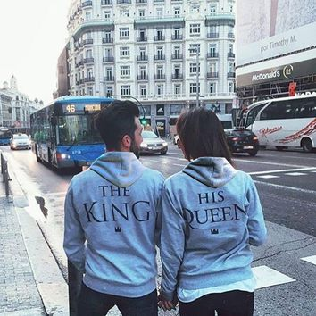 Cool female Male grey anime Hoodie Sweatshirt Jacket Coat clothes Autumn winter  brand Print KING Queen COTTON women Men love CoupleAT_93_12