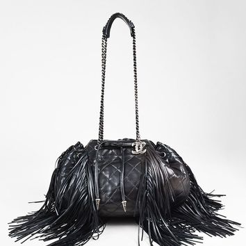 "Chanel Black Lambskin Leather Quilted ""Paris Dallas"" Drawstring Fringe Bag"
