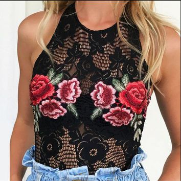 DCCKJ2X Hot summer new embroidery flower bud silk neck backless romper jumpsuits