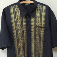 Thai Silk Shirt, XXXL Mens Vintage Shirt, Navy Blue Gold Vintage Mens Shirt 3XL Silk Short Sleeve Button Down Shirt Plus Size Big Tall Men