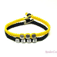 Bracelets for Couples, Bright Yellow and Black His and Hers Bracelet Set, Macrame Hemp Jewelry, Made to Order