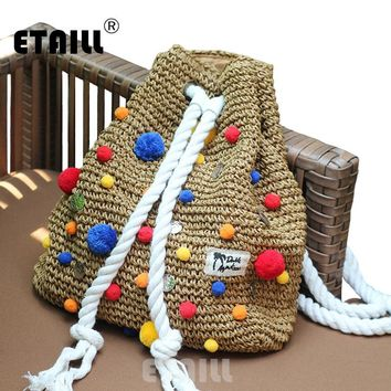 2017 Summer Crochet Straw Backpack Handmade Vines Knitting Brand Beach String Bag Indian Pompon Women Drawstring Bags Sac a dos
