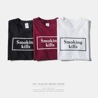 """Smoking Kills"" Letter Print Short Sleeve T-Shirt"