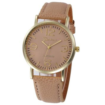 Women Casual Checkers Faux Leather Quartz Analog Wrist Watch
