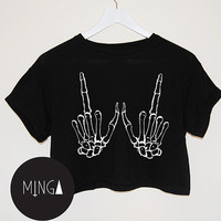 SKELETON HANDS t shirt top tee crop tank vest paris par MINGAlondon
