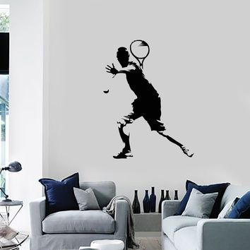 Vinyl Wall Decal Tennis Player Silhouette Sports Room Art Decor Stickers Mural (ig5525)