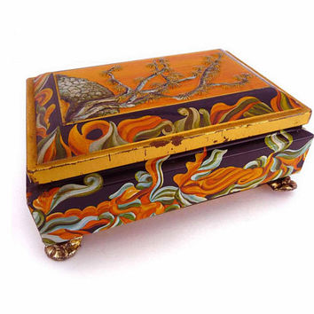 Footed Tin 1950s Tea Caddy by Mavis Made In WESTERN GERMANY Metal Lithograph Asian Styled Motif Candy Stash Box Tea Pencils Treasures