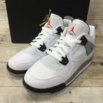 DCCKIG3 Air Jordan 4 Retro OG White/Fire Red-Black-Tech Grey