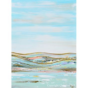 """""""Heavenly Day II"""" ORIGINAL Art Abstract Landscape Painting w/ Gold Leaf Textured 30x40"""""""