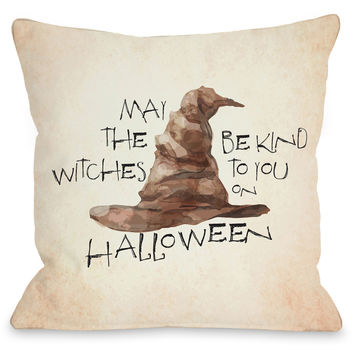 """Witches Be Kind"" Indoor Throw Pillow by OneBellaCasa, 16""x16"""