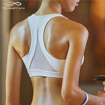 Mermaid Curve 2018 Women Fitness Bras Sports Hollow Out Sexy Back Triangle Solid Color Push Up Yoga Bras Vest Running GYM Tops