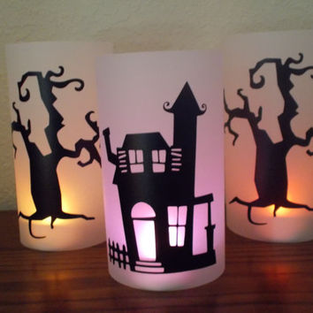 Spooky Halloween Luminaries, Haunted House and Trees, Set of 3