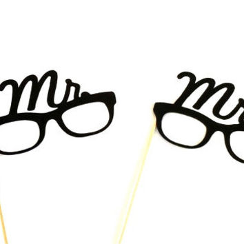 Mr and Mrs Glasses Set Photo Booth Props Wedding Photobooth Props Party Glasses Photo Props Party Decorations Party Supplies