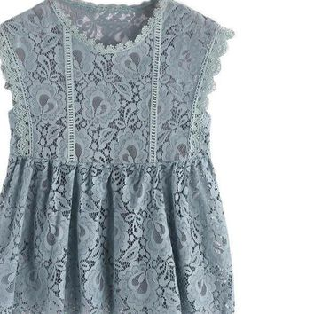 Vintage Lace Smock Tops Ladies Tank Top Blue Scalloped Trim Semi Sheer Women Cute Party Tank