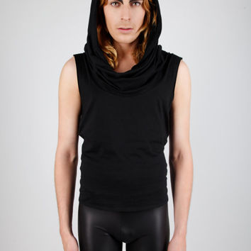 Men's Oversize Turtleneck Collar Tank Top, Black Sleeveless Vest, Large Cowl Neck Hood, Gothic Clothing, Avant Garde, by LENA QUIST