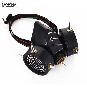 Steampunk Industrial Revolution Cosplay Vintage Gas Mask Costumes Party Rivet Spikes Masks Clock Gear Punk Accessories