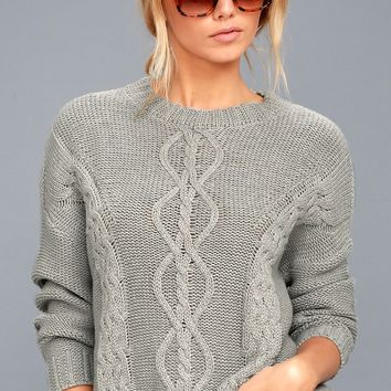 Rhythm Zambia Grey Cable Knit Sweater