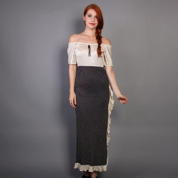 70s POLKA DOT Dress / Slinky Black & White Off the Shoulder Ruffle MAXI, xs