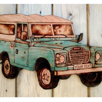 Land Rover Wall Hanging, Customised, Pyrography, Wood burning, Landrover art, land rover decor, land rover series 3, car art, farm, men gift