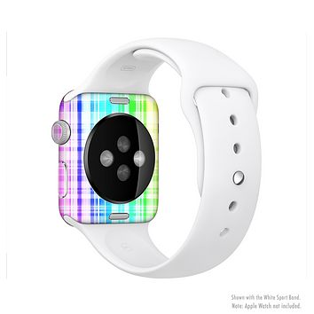 The Bright Rainbow Plaid Pattern Full-Body Skin Set for the Apple Watch