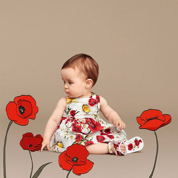 Baby Girls Dress Summer 2016 Designer Princess Dress Girl Clothes Dobby Kids Dresses for Girls Costumes Poppy Floral Print Kids Clothes