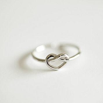 Simple Love Heart Silver Ring