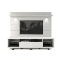 Cabrini TV Stand and Floating Wall TV Panel with LED Lights 2.2 in White Gloss