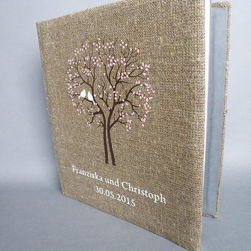 Wedding rustic old style photo album or scrapbook burlap Linen Bridal shower anniversary White birds and names and black tree pink leaves