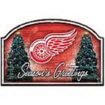 ONETOW NHL Wincraft Detroit Red Wings Seasons Greetings Wooden Christmas Sign
