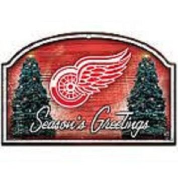 DCCKG8Q NHL Wincraft Detroit Red Wings Seasons Greetings Wooden Christmas Sign